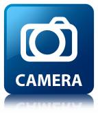 Camera glossy blue reflected square button — ストック写真
