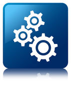 Gears icon glossy blue reflected square button — Stock Photo
