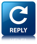 Reply glossy blue reflected square button — Stock Photo