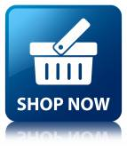 Shop now glossy blue reflected square button — Stock Photo