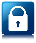 Padlock icon glossy blue reflected square button — Zdjęcie stockowe