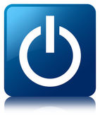 Power icon glossy blue reflected square button — Stock Photo