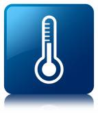 Thermometer icon glossy blue reflected square button — Stock Photo
