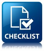 Checklist glossy blue reflected square button — Stock Photo