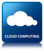 Cloud computing glossy blue reflected square button — ストック写真
