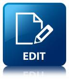 Edit document glossy blue reflected square button — Stockfoto