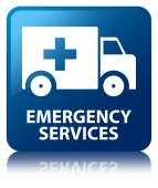 Emergency services glossy blue reflected square button — Stock Photo