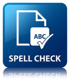 Spell check document glossy blue reflected square button — Stock Photo