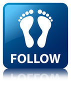 Flollow (foot icon) glossy blue reflected square button — ストック写真
