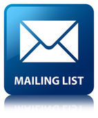 Mailing list glossy blue reflected square button — Stockfoto