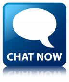 Chat now (talk bubble icon) glossy blue reflected square button — ストック写真