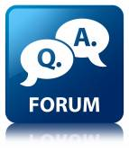 Forum (question answer bubble icon) glossy blue reflected square — Stock Photo