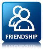 Vriendschap (groepspictogram) glanzende blauw weerspiegeld vierkante knop — Stockfoto