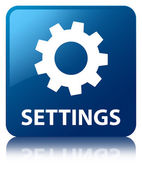 Settings (control icon) glossy blue reflected square button — Stock Photo