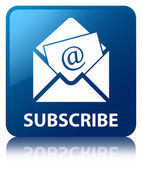 Subscribe (Newsletter email icon) glossy blue reflected square b — Stock Photo