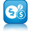 Finance icon (dollar sign) glossy blue reflected square button — Stock Photo #56511771