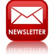 Newsletter (email icon) glossy red reflected square button — Stock Photo #56512151
