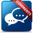 Comments (Talking icon) glassy red ribbon on glossy blue square button — Stock Photo #56512791