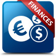 Finances (finance icon) glassy red ribbon on glossy blue square button — Stock Photo #56512941