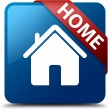 Home (home icon) glassy red ribbon on glossy blue square button — Stock Photo #56512957