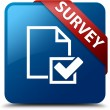 Survey (Checklist icon) glassy red ribbon on glossy blue square button — Stock Photo #56513219