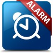 Alarm (clock icon) glassy red ribbon glossy blue square button — Stock Photo #56513259