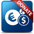 Donate (Financial currency icon) glassy red ribbon on glossy blue square button — Stock Photo #56513359
