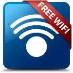 Free wifi (wireless icon) glassy red ribbon glossy blue square button — Stock Photo #56513447