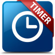 Timer (clock icon) glassy red ribbon glossy blue square button — Stock Photo #56513679