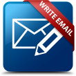 Write email glassy red ribbon glossy blue square button — Stock Photo #56513705