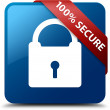 100 percent secure (Padlock icon) glossy blue square button — Stock Photo #56513799