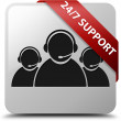 24by7 Support (csutomer care team icon) glossy white square button — Stock Photo #56514587