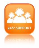 24by7 support (customer care team) glossy orange reflected square button — Stock Photo
