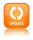 Update glossy orange reflected square button — Stockfoto