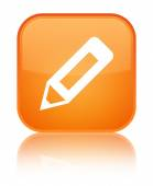 Pencil icon glossy orange reflected square button — Stok fotoğraf