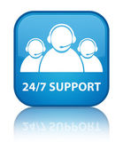 24by7 support (customer care team) glossy blue reflected square button — ストック写真