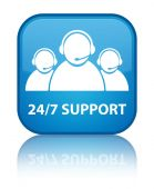 24by7 support (customer care team) glossy blue reflected square button — Stock Photo