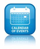 Calendar of events glossy blue reflected square button — Foto de Stock
