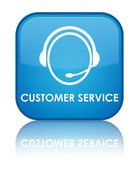 Customer service glossy blue reflected square button — Stock Photo