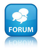 Forum glossy blue reflected square button — Stockfoto