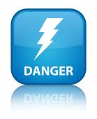 Danger glossy blue reflected square button — ストック写真