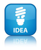 Idea (bulb icon) glossy blue reflected square button — Stock Photo