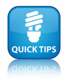 Quick tips (bulb icon) glossy blue reflected square button — Stock Photo