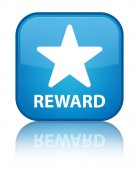 Reward (star icon) glossy blue reflected square button — Stock Photo
