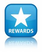 Rewards (star icon) glossy blue reflected square button — Stock Photo