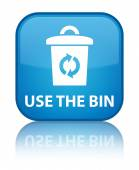 Use the bin (trash icon) glossy blue reflected square button — Stok fotoğraf