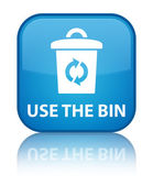 Use the bin (trash icon) glossy blue reflected square button — Stock Photo