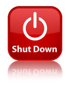 Shut down glossy red reflected square button — 图库照片