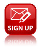 Sign up glossy red reflected square button — Stock Photo
