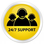 24by7 support (customer care icon) yellow button — ストック写真